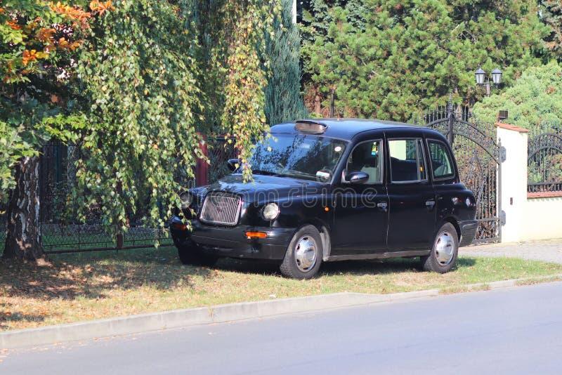 Taxi tradicional de Londres CEB negro se coloca en un gozon verde cerca del estado en el otoño Transporte BRITÁNICO Excelencia té imagenes de archivo