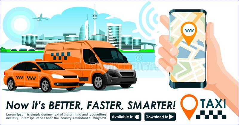 Taxi & trucking industry app banner. City skyline modern buildings hi-tech & taxi cab also smartphone gps map in hand. Concept tem. Taxi trucking industry app vector illustration