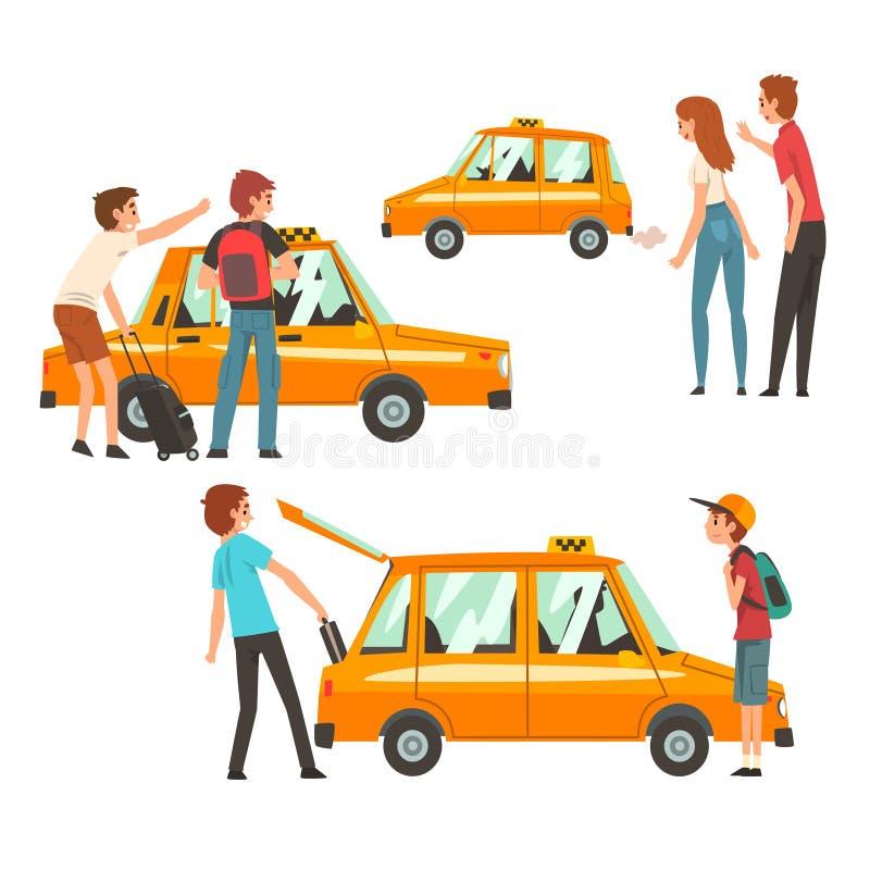 Taxi usługi set, klienci Macha taxi, mężczyzny kładzenia bagaż w Samochodowej Wektorowej ilustracji ilustracja wektor