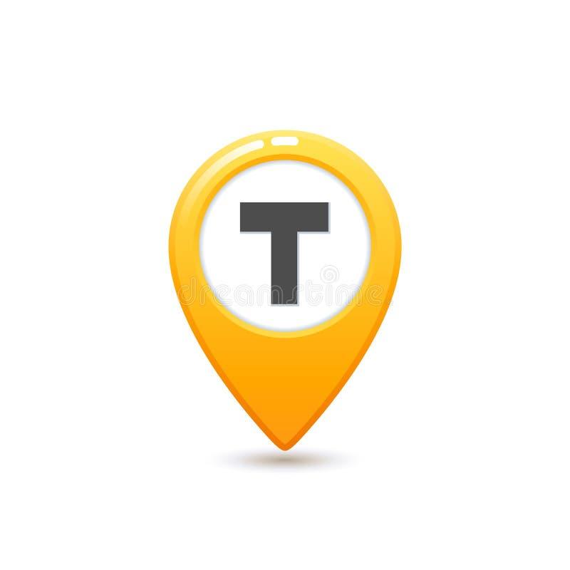 Taxi usługa, mieszkania taxi stylowa Żółta ikona Mapy szpilka z T listu znakiem Żółta taxi ikona na białym tle ilustracji