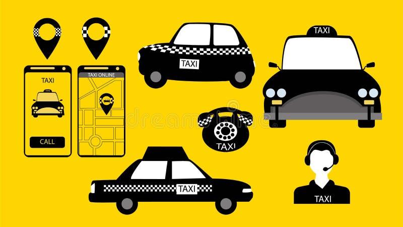Taxi usługa podpisuje wewnątrz wektor royalty ilustracja