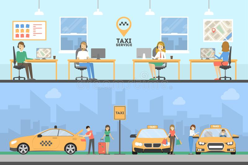 Taxi usługa set ilustracji