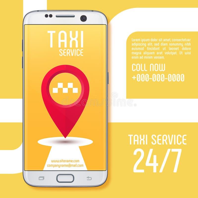Taxi usługowy app na białym smartphone ekranie również zwrócić corel ilustracji wektora ilustracji