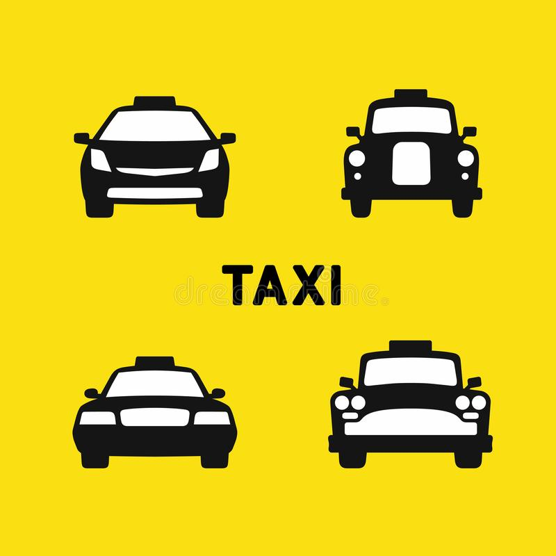 Taxi various times vector illustration. Taxi various times, old and modern taxi cab, front silhouette icons set, vector illustration stock illustration