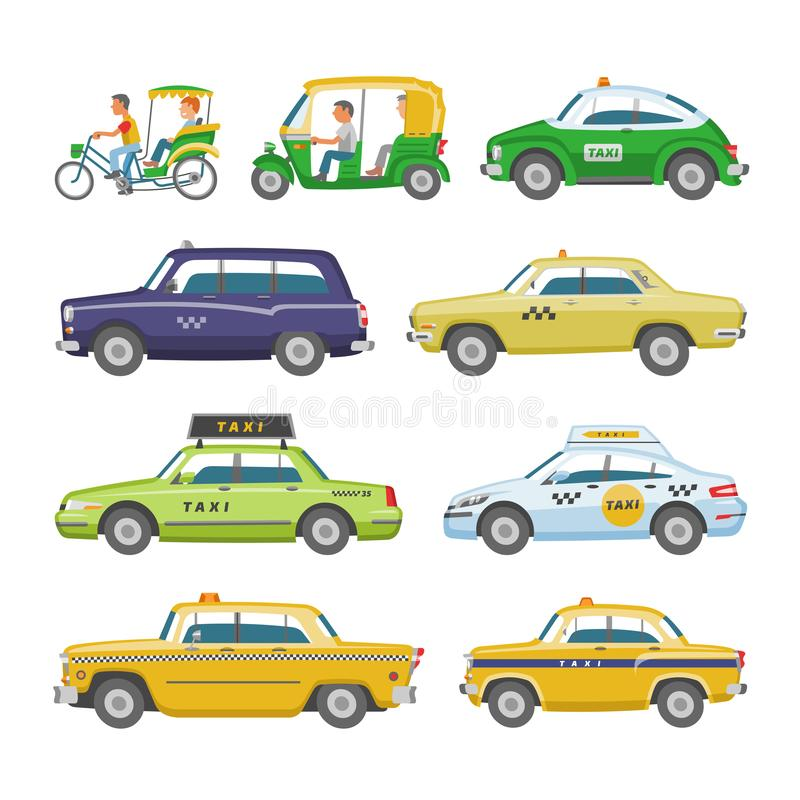 Taxi vector taxicab transport and yellow car transportation illustration set of city cab auto on taxi-rank and taxi. Driver in automobile isolated on white stock illustration