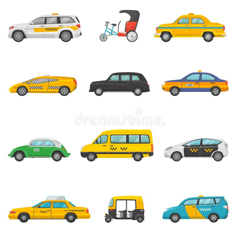 Taxi vector taxicab transport and yellow car transportation illustration set of city cab auto on taxi-rank and taxi. Driver in automobile isolated on white vector illustration