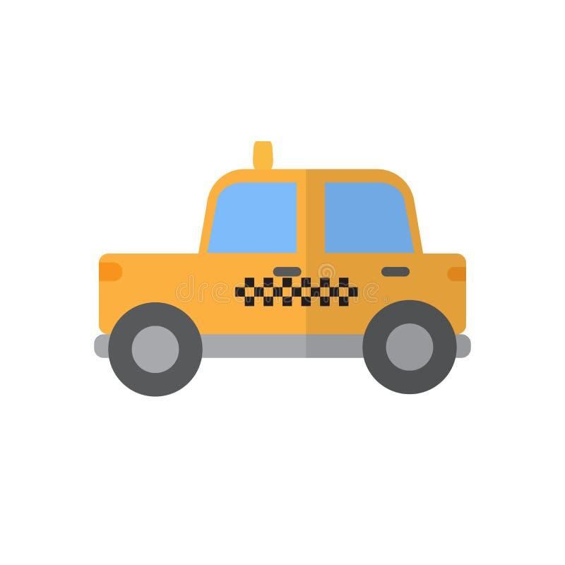 Taxi vlak pictogram, gevuld vectorteken, kleurrijk die pictogram op wit wordt geïsoleerd vector illustratie