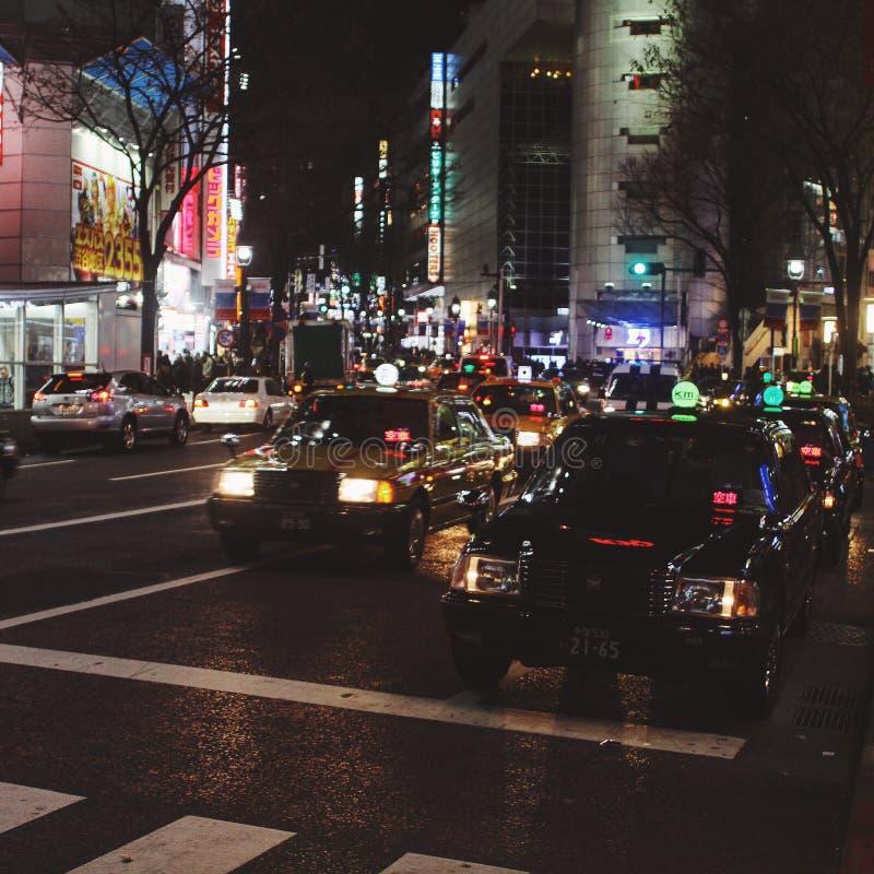 Taxi w Shibuya Japonia fotografia stock