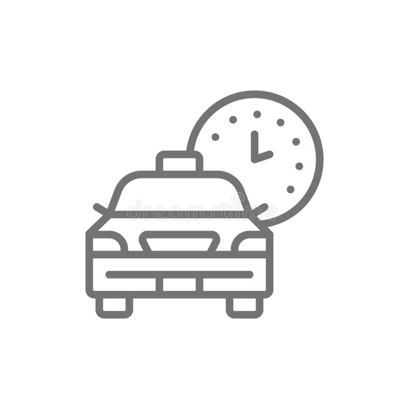 Taxi waiting time, car deadline, schedule ride line icon. stock illustration