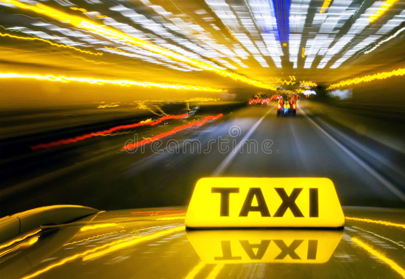 Taxi at warp speed stock images