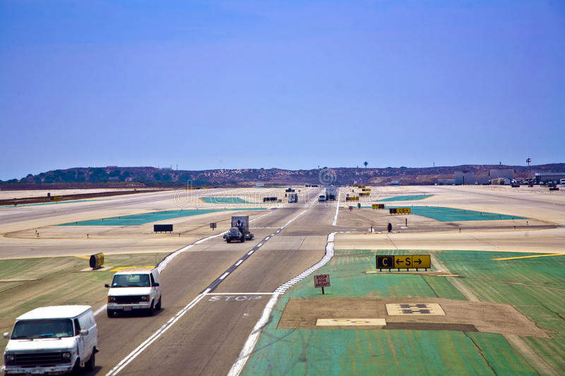 Taxi way with cars at the international Airport in Los Angeles royalty free stock photos