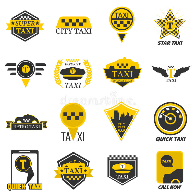 Taxi web icons set yellow checkered flag, star, wings. Taxi logo templates for company web or smartphone application icon. Yellow checkered symbol, taximeter vector illustration