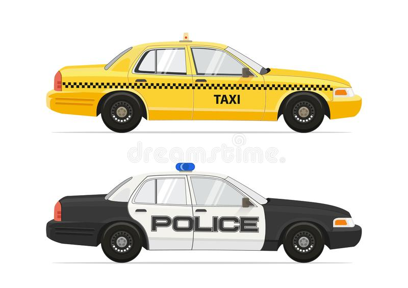 Taxi Yellow Cab NYC Car. Police Sheriff Security Car. Isolated on white background cars set. Vector illustration. stock illustration