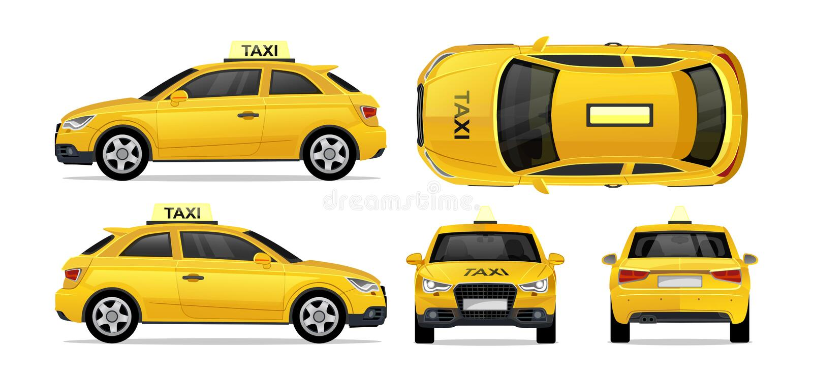 Taxi yellow car with side, front, back and top. City transport taxi icon set for mobile, web, promotions. Taxi cab isolated on. White background.hi-Detailed vector illustration