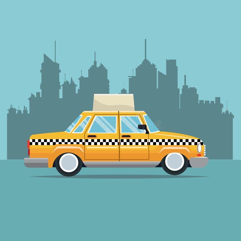 Taxi York bocznego widoku miasteczka samochodowy nowy tło royalty ilustracja