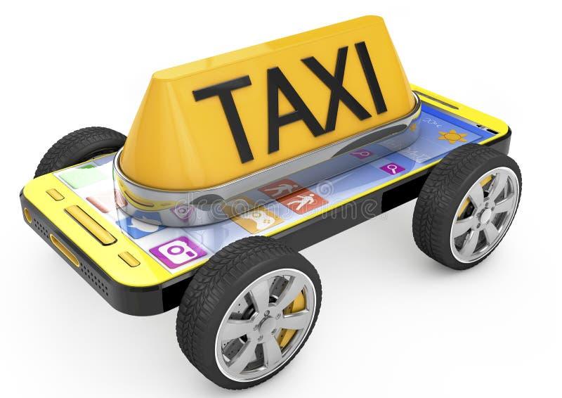 Taxi-Zeichen und Smartphone auf Rädern stock abbildung