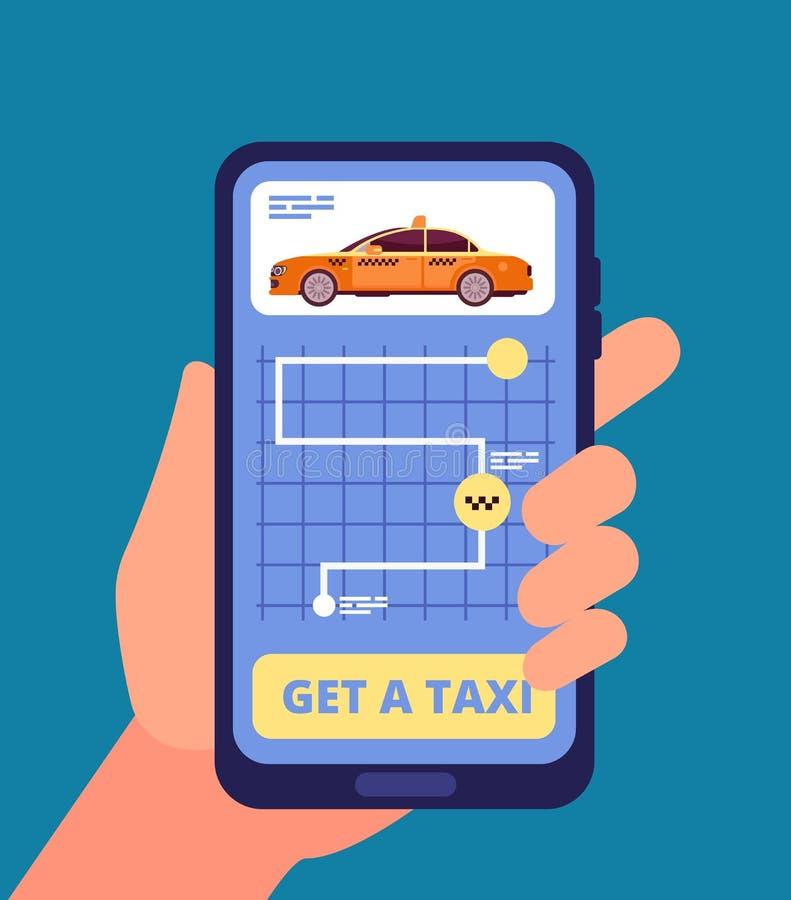 Taxiapp concept Smartphone van de handholding met de vectorillustratie van de taxitoepassing royalty-vrije illustratie