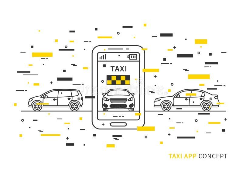 Taxiapplikation på mobiltelefonvektorillustration vektor illustrationer