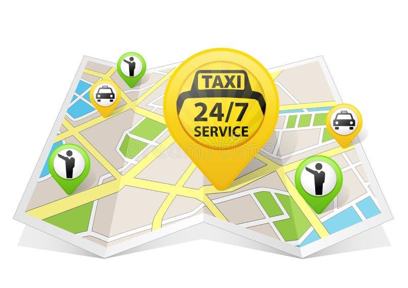 Taxiapps på en översikt vektor illustrationer