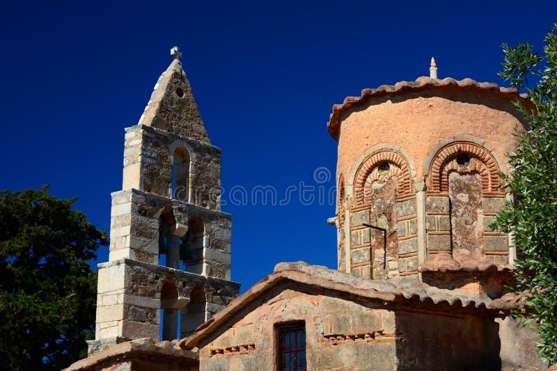 Taxiarchon教会, Charouda,玛尼,希腊 免版税库存照片