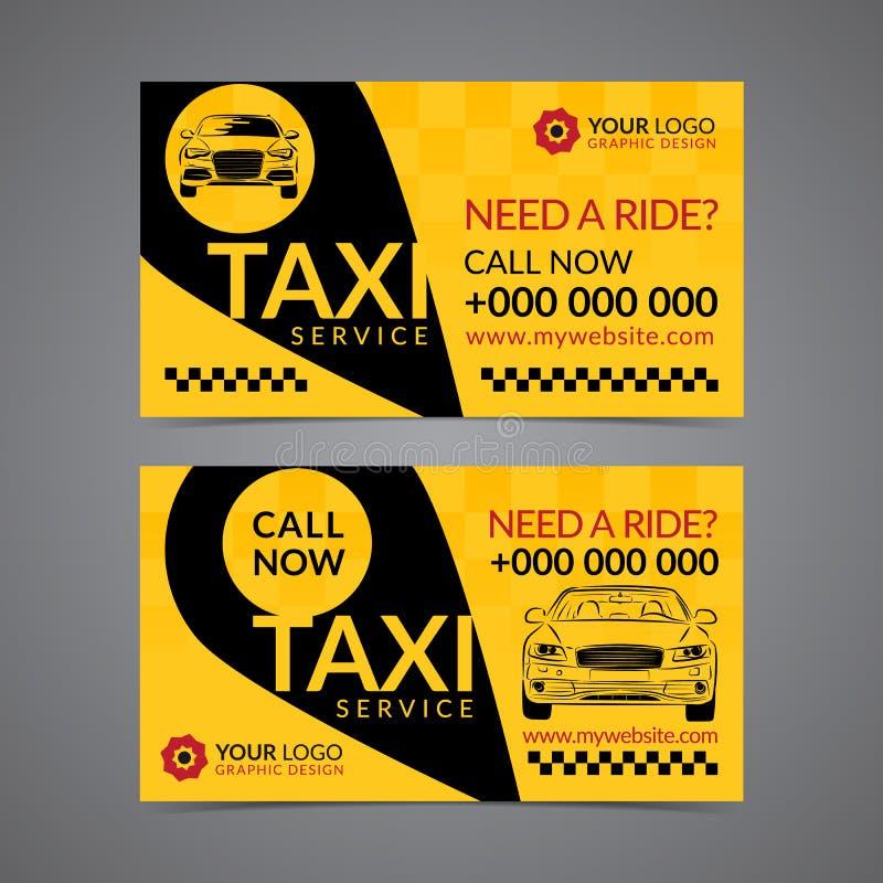 Taxiaufnahmendienstleistungsunternehmen-Kartenplanschablone vektor abbildung
