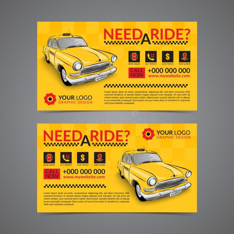Taxiaufnahmendienstleistungsunternehmen-Kartenplanschablone lizenzfreie abbildung