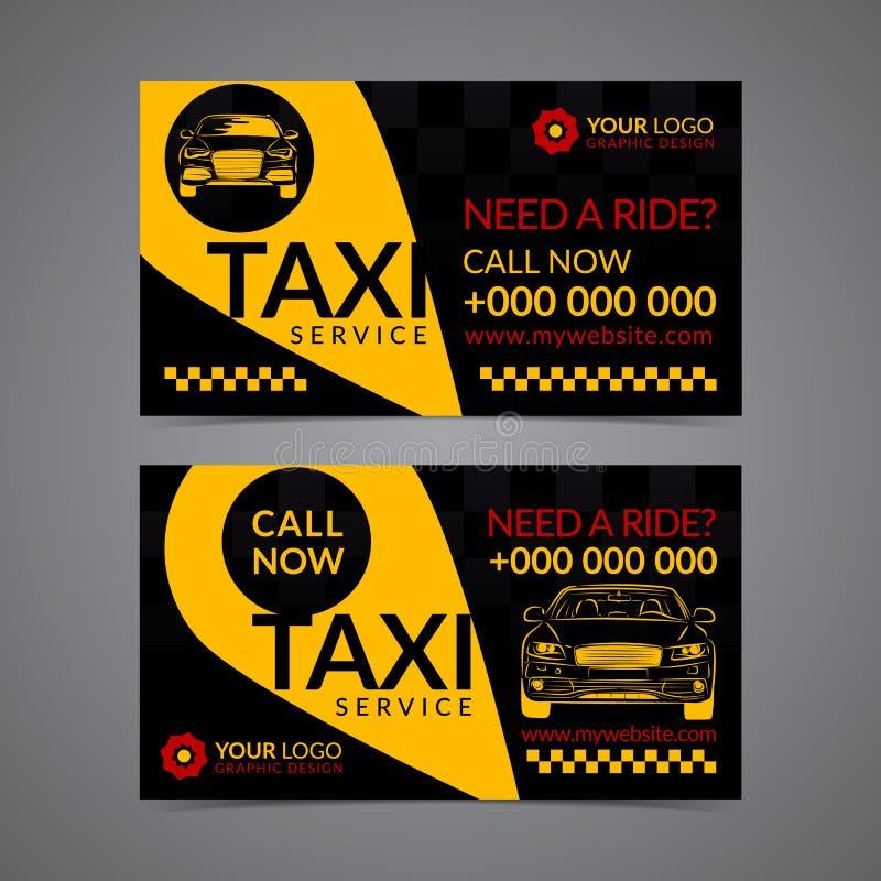 Taxiaufnahmendienstleistungsunternehmen-Kartenplanschablone Stellen Sie Ihre eigenen Visitenkarten her lizenzfreie abbildung