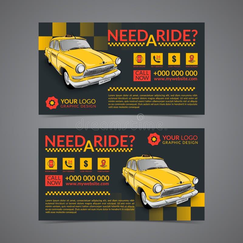 Taxiaufnahmendienstleistungsunternehmen-Kartenplanschablone Stellen Sie Ihre eigenen Visitenkarten her vektor abbildung