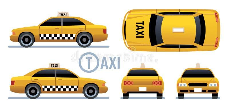 Taxiauto Gele cabinemening vanaf kant, voorzijde, rug en bovenkant De taxi vectorreeks van de beeldverhaalstad vector illustratie