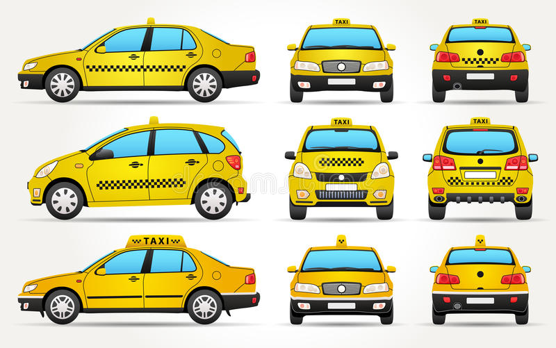 Taxiauto - Kant - Voorzijde - Achtermening royalty-vrije stock foto's