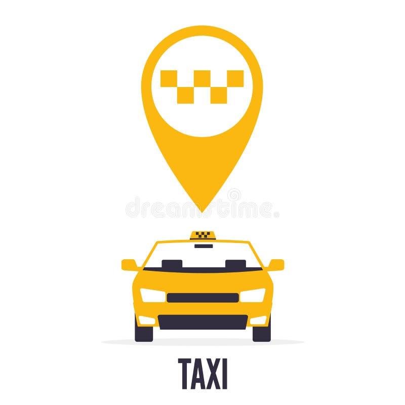 Taxiauto op witte achtergrond en gele gps wijzerkaart met taxipictogram royalty-vrije stock afbeeldingen