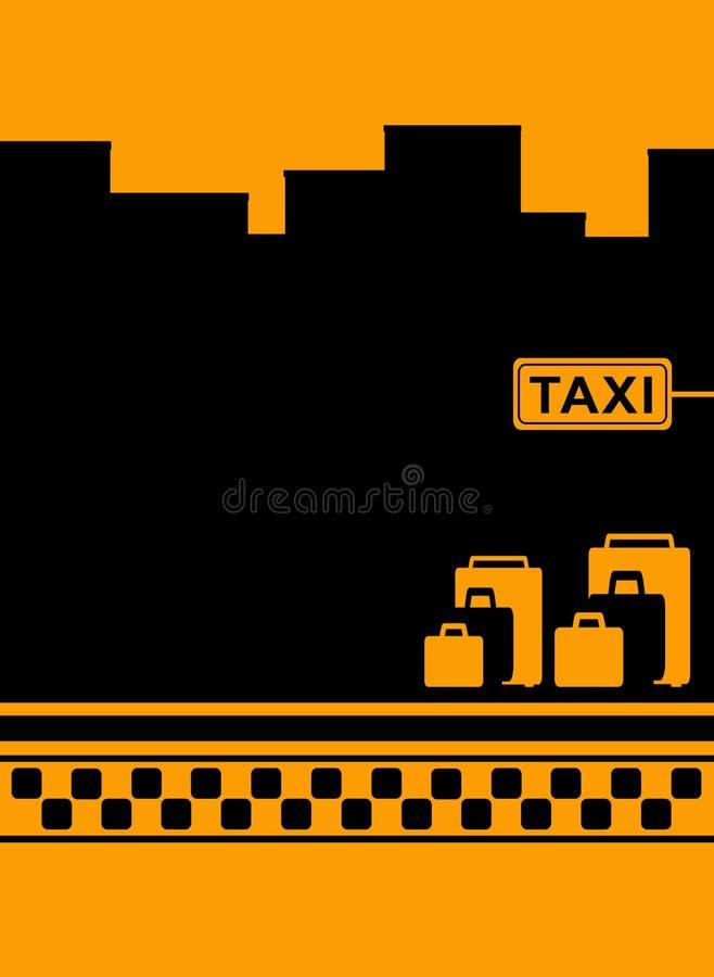 Taxibakgrund med bagage- och taxisymbol royaltyfri illustrationer