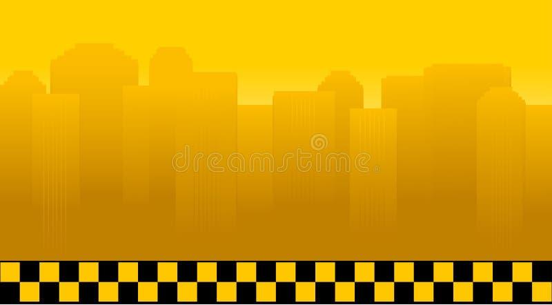Taxibakgrund med staden royaltyfri illustrationer
