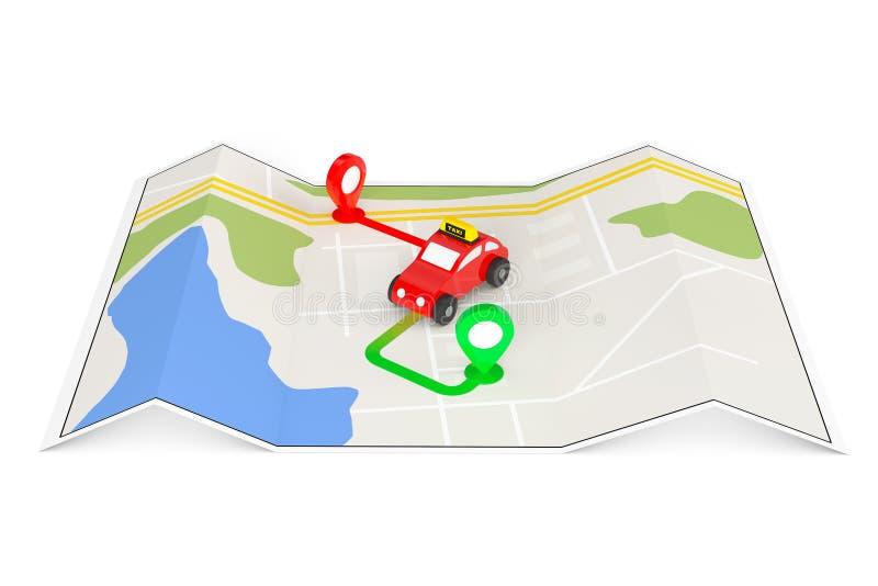 Taxibeställningsbegrepp Toy Taxi från ovannämnt av abstrakt navigering M royaltyfri illustrationer