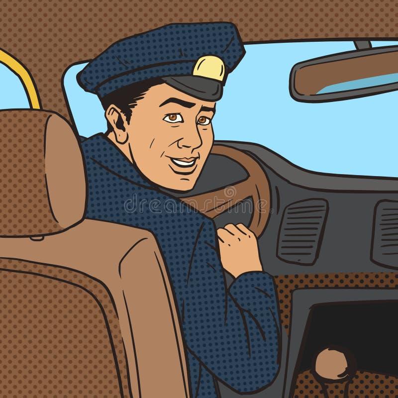 Taxibestuurder in de vector van de het pop-artstijl van de taxiauto vector illustratie