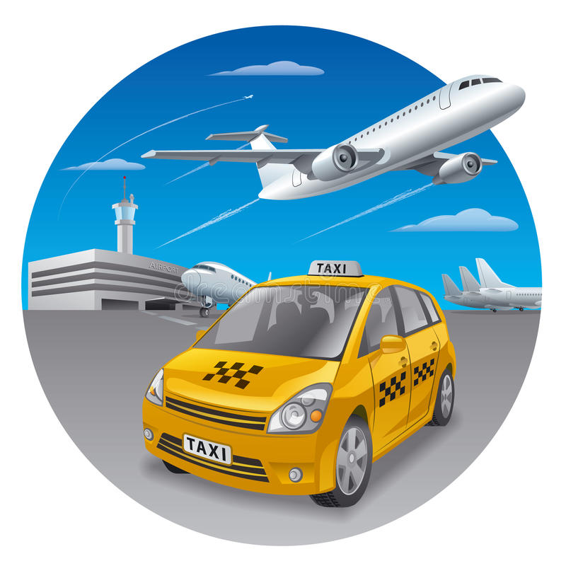 Taxibil i flygplats royaltyfri illustrationer