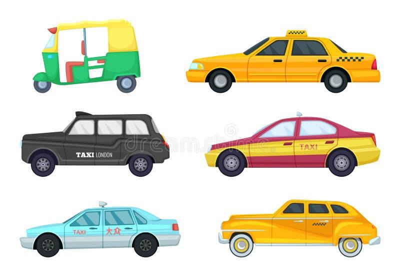 Taxibilar i olika städer Transport för snabb resande Vektorillustrationuppsättning stock illustrationer
