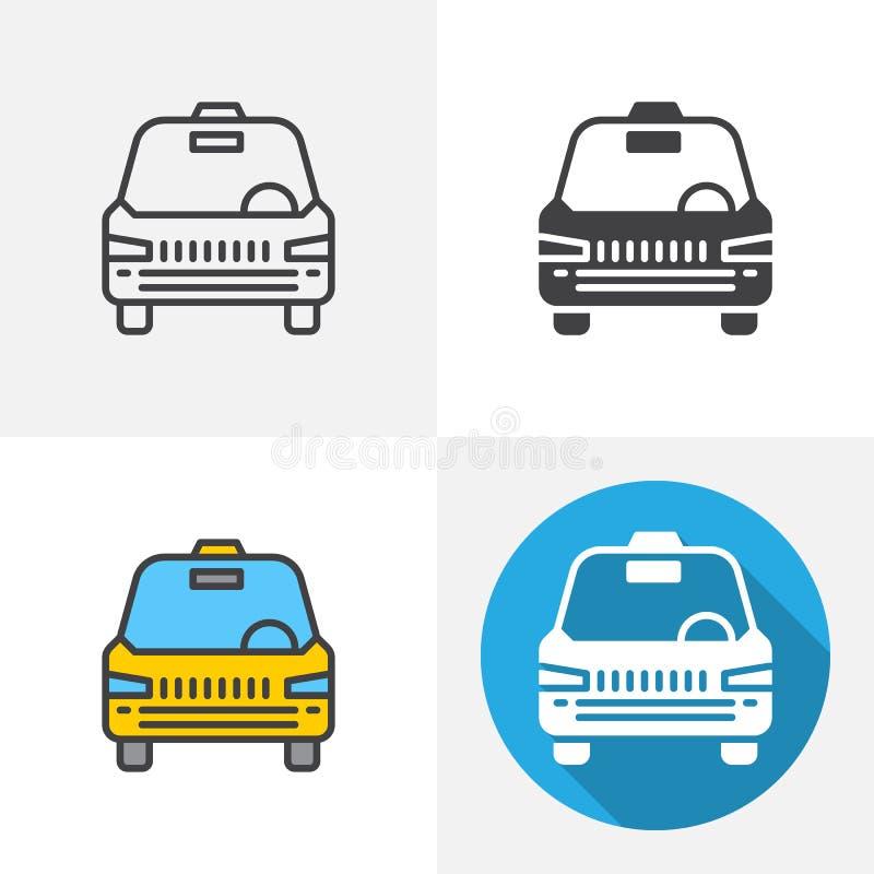 Taxibilsymbol stock illustrationer