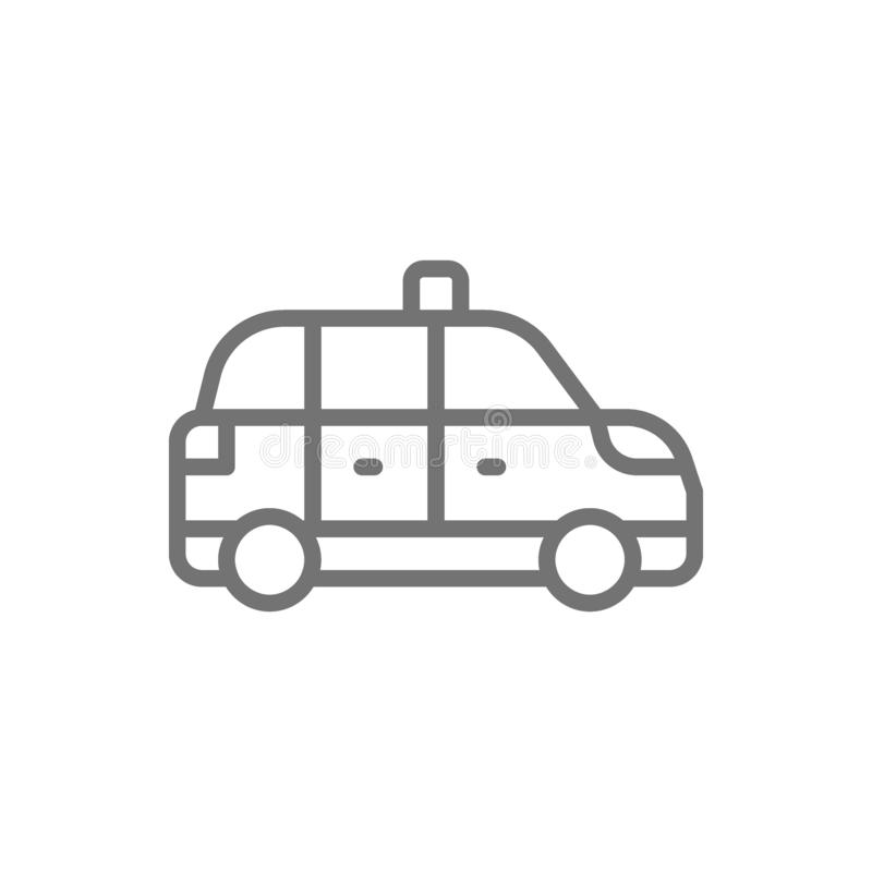 Taxicab, taxi, cab line icon. Isolated on white background. Vector taxicab, taxi, cab line icon. Symbol and sign illustration design. Isolated on white vector illustration