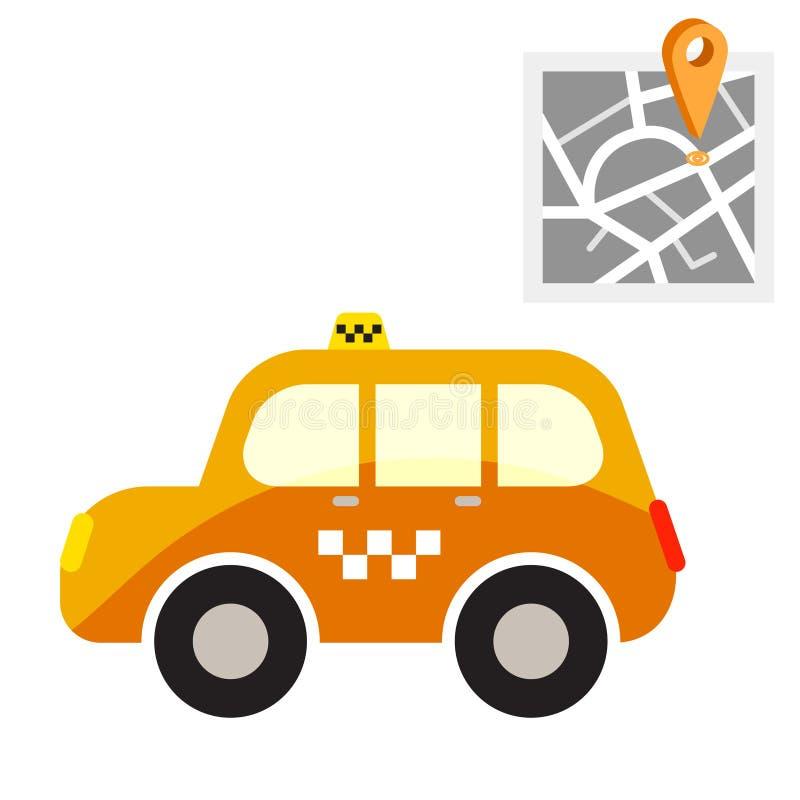 Taxicabine met de vectorillustratie van het kaartpunt stock illustratie