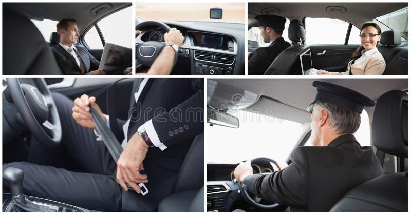 taxichaufför och passagerarecollage arkivfoton