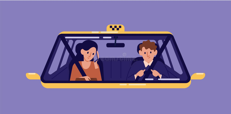 Taxichaufför och ung kvinna som sitter den främsta platsen och talar på mobiltelefonen i taxin som ses till och med vindrutan Fli royaltyfri illustrationer