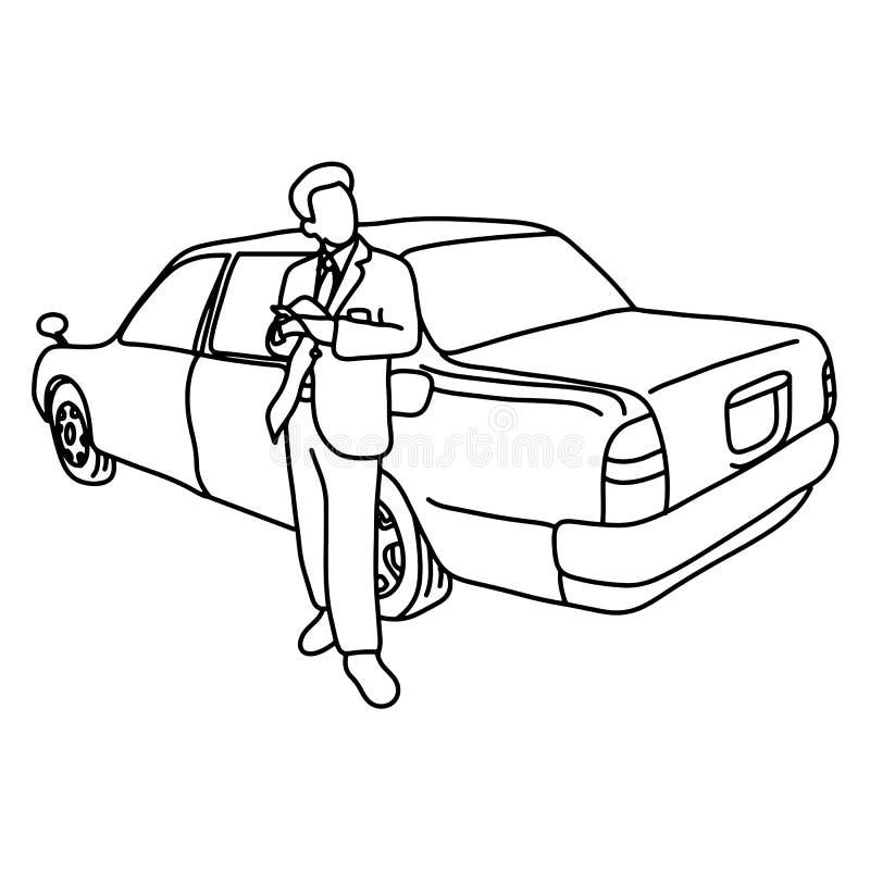 Taxichauffören med hans bilvektorillustration skissar klotterhanden som dras med svarta linjer som isoleras på vit bakgrund stock illustrationer