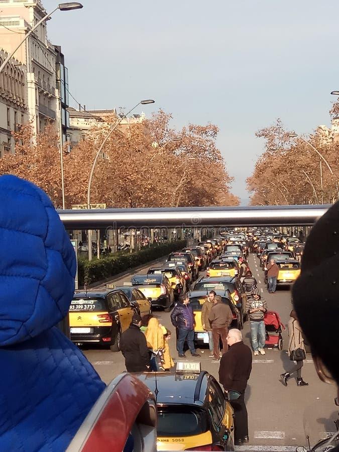 Taxichaufförers protest i Barcelona royaltyfria foton
