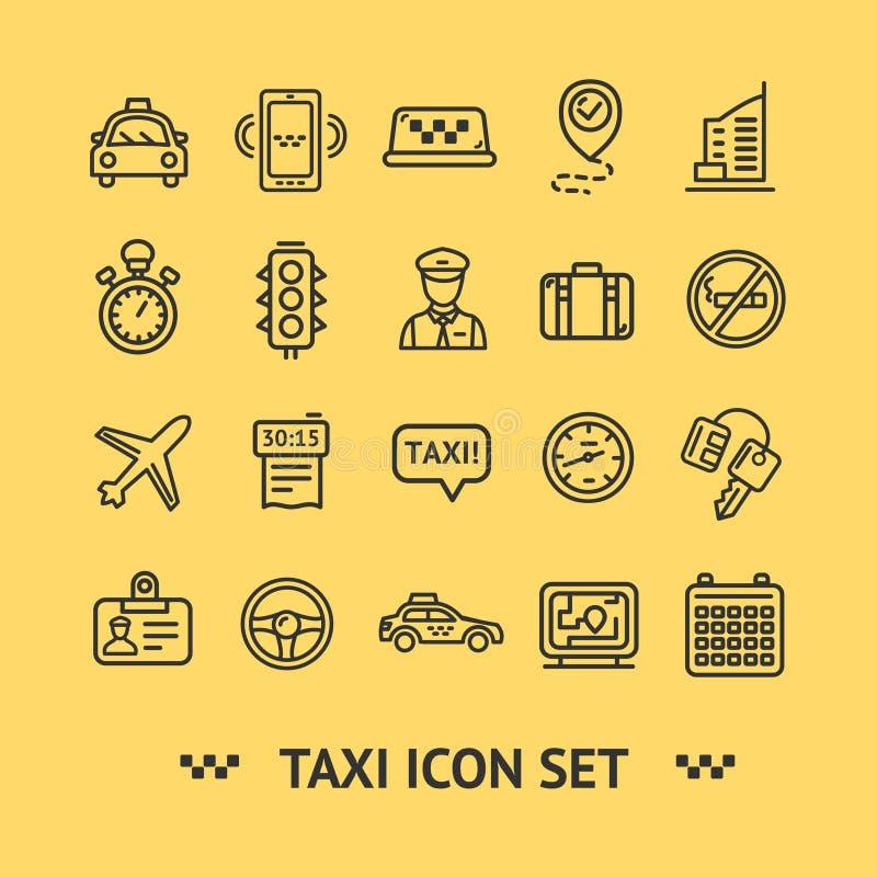 Taxien servar den tunna linjen uppsättning för symbolen vektor royaltyfri illustrationer