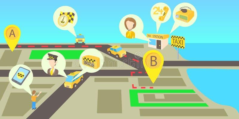 Taxien servar horisontalbanret, tecknad filmstil stock illustrationer