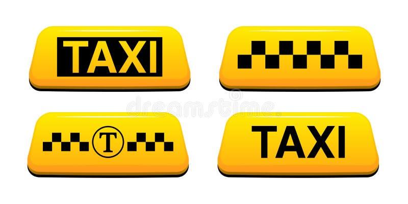 Taxien undertecknar vektorillustrationen Tjänste- vektorillustration för taxi vektor illustrationer