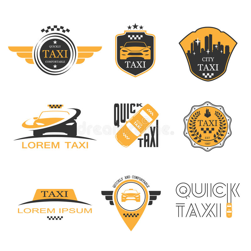 Taxietikettuppsättning stock illustrationer