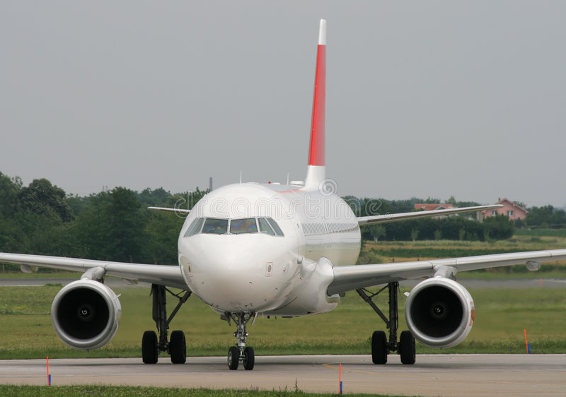 Taxiing after landing stock image