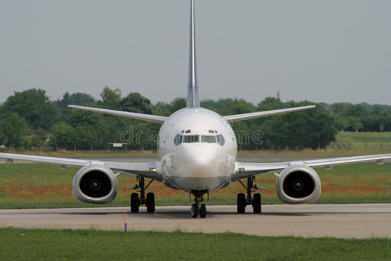 Taxiing after landing stock photography